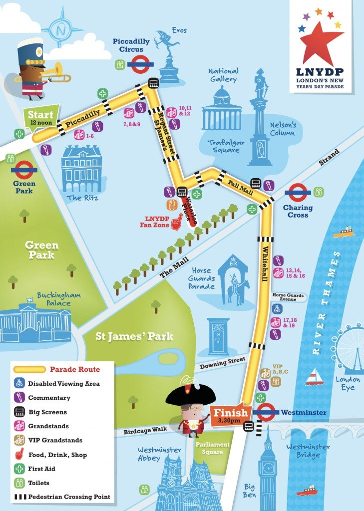 London New Years Day Parade route map