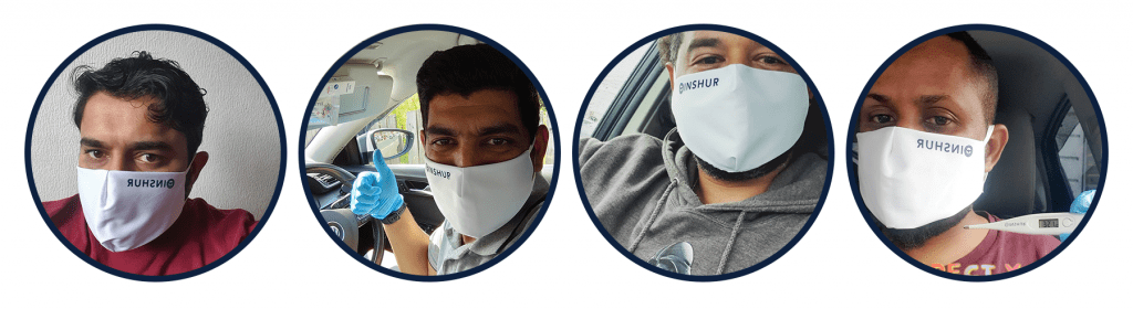 Uber drivers with masks