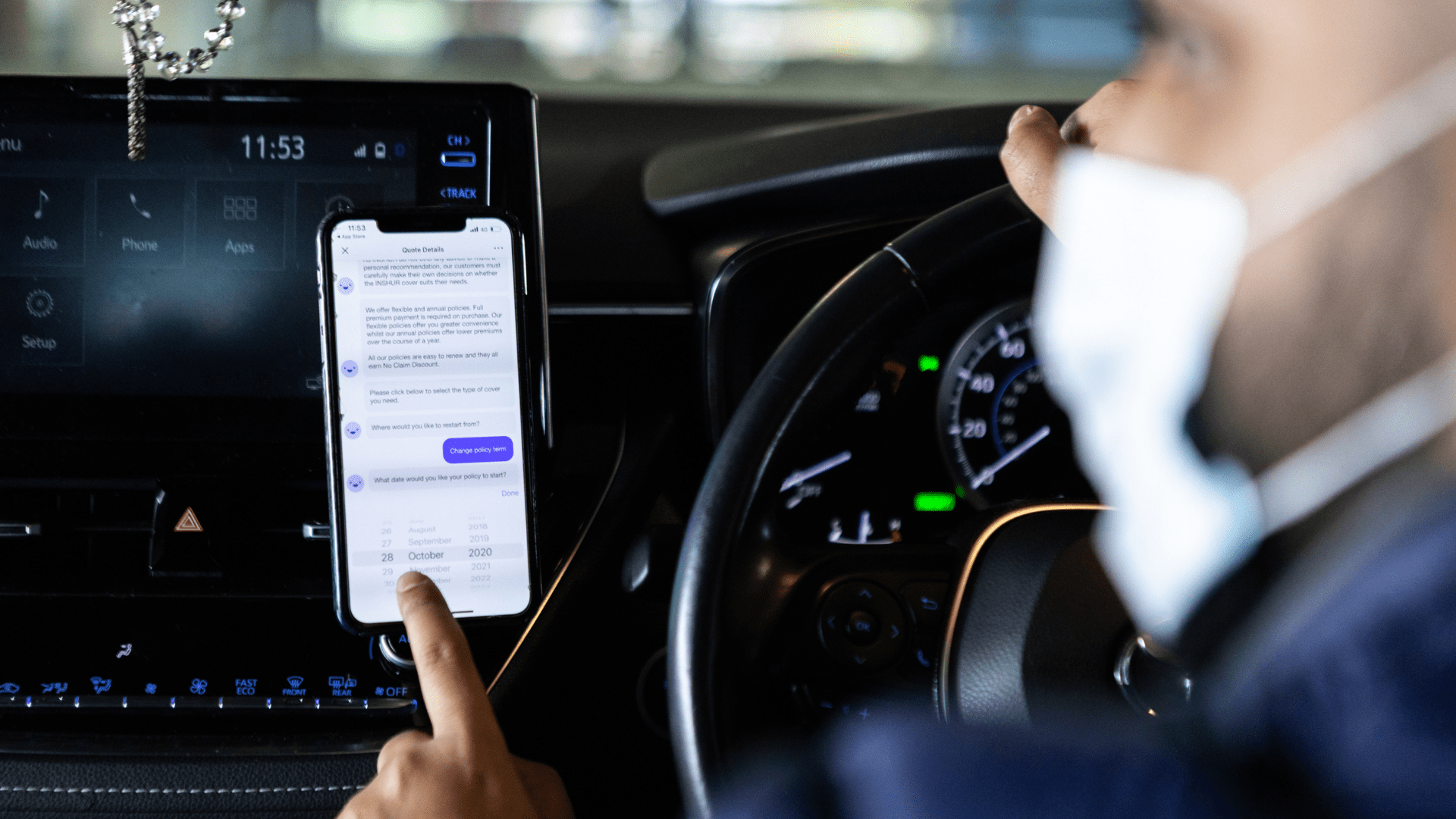 private hire insurance on an app